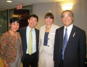 At right, Governor Hodo Nakamura of Nagasaki Prefecture with Kyushu Battenkai members in New York, September 2012. (Mark Flanagan)