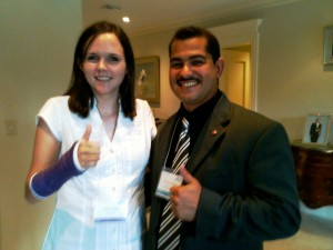 Clare Grady and William Collazo representing 15 years of JET at the Pre-Departure Orientation, Florida, 2012.