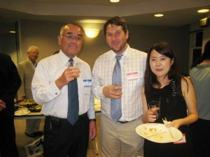 JET alumnus Ben Singer, center, with members of the Nagasaki delegation. (Mark Flanigan)