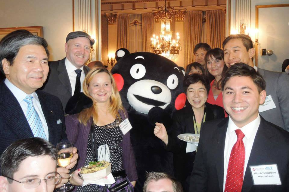 JET alumni from JETAANY meet Kumamon and Governor Kabashima at the Consul General's residence