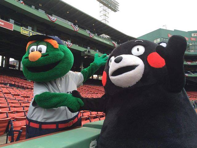 Kumamon meets Boston Red Sox's Wally the Green Monster at Fenway Park