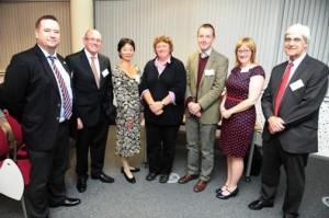 JETAA UK members Sarah Parsons (second from right) and Rob Gorton of Toyota (second from left) attend the inaugural Careers and Networking Programme reception with guests in the fields of business and academia, Nottingham, Oct. 3, 2013. (University of Nottingham)