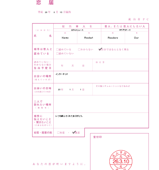 Government form allows Japanese romantics to officially declare their love6