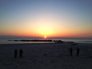 "Sunrise over Iwaki: A local pre-dawn commemorative service took place on March 8, 2014, which included taiko performances and ended with the sunrise over the Pacific. (Alexandrea ""Xan"" Wetherall)"