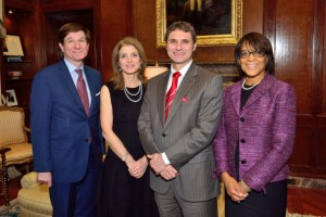 Hill (second from left) with Thierry Porte, former chairman of U.S. CULCON, Ambassador Caroline Kennedy, and Paige Cottingham-Streater, Secretary-General of U.S. CULCON, Tokyo, Feb. 2014. (Courtesy of Culcon.jusfc.gov)