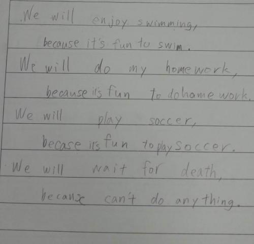 Japanese student's English homework captures futility of life