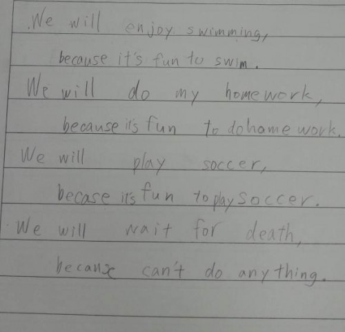 Japanese student's English homework captures futility of life