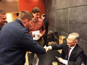 Members of JETAA New York met with Takei after his talk. (Ann Chow)