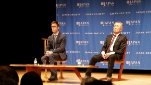 George Takei (right), with Kermit Roosevelt at Japan Society, New York, Jan. 2016. (Ann Chow)