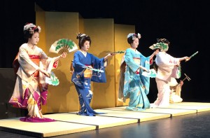 Jewels of Kyoto perform Matsu Zukushi, characterized by the use of fans with a pine branch design, which represents the courage, determination and fidelity of a woman. (Eden Law)